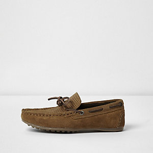 Boys brown suede driver shoes