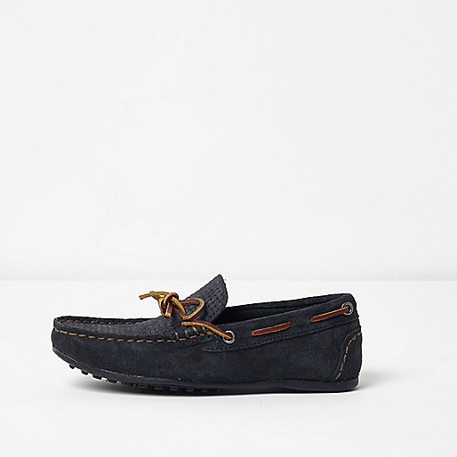 Boys navy suede driver shoes