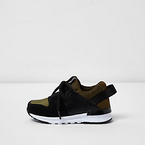 Mini boys khaki green runner trainers