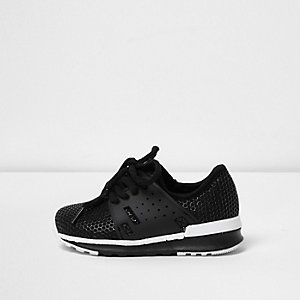 Mini boys black mesh runner trainers