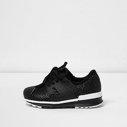 Mini boys black mesh runner sneakers