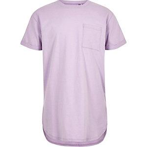 Boys purple curved hem T-shirt