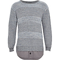 Boys blue textured knit layered sweater
