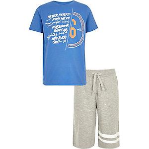 Boys blue spliced print T-shirt outfit