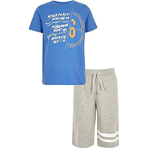 Boys blue spliced print pajama set