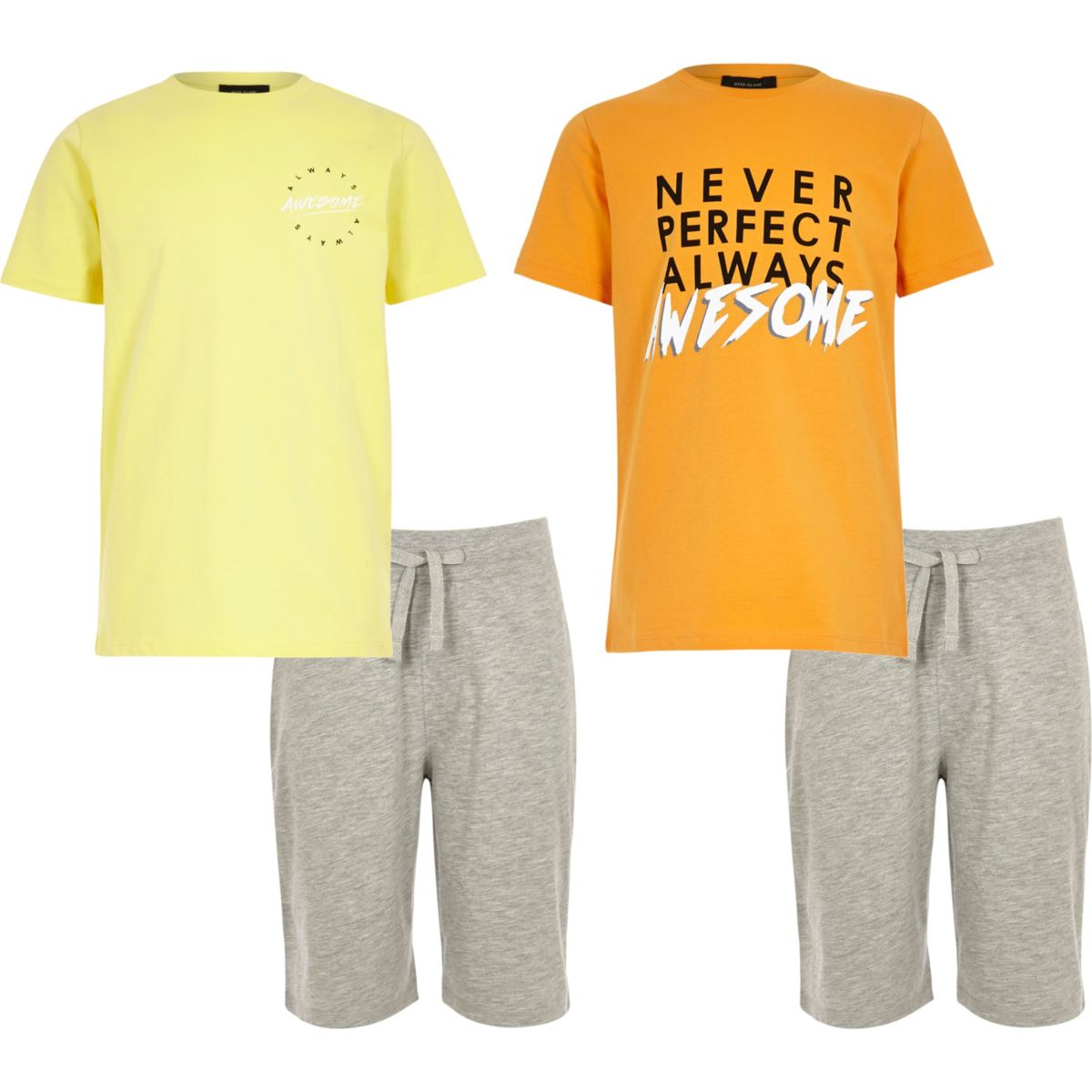 Boys yellow and orange pyjama set multipack