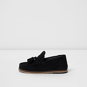 Mini boys black suede tassel loafers