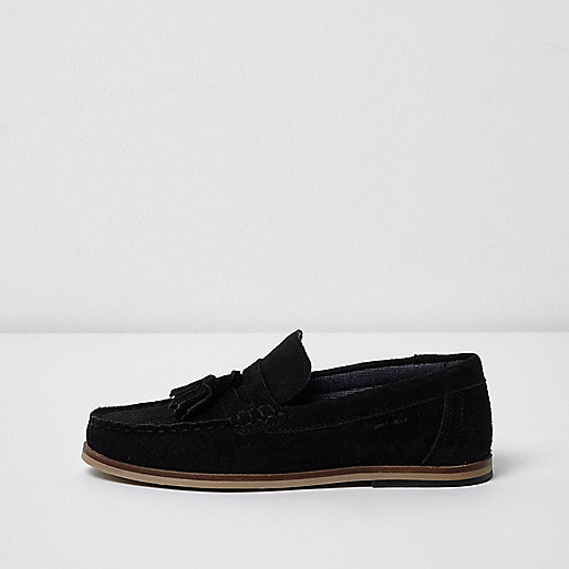 Boys black tassel loafers