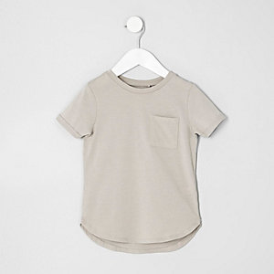Mini boys stone curved hem T-shirt