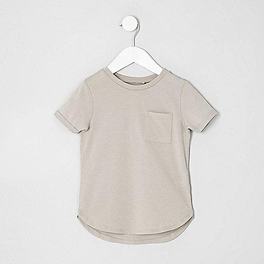 Mini boys stone curved hem T-shirt
