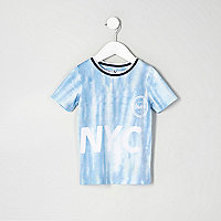 Mini boys blue mesh 'NYC' tie dye T-shirt