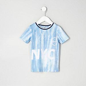 Mini - Blauw tie dye T-shirt met 'NYC'-print en mesh voor jongens