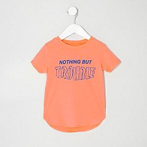 Mini boys orange 'Trouble' print T-shirt