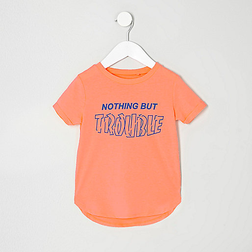Mini boys orange 'Trouble' print T-shirt