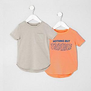Mini - Multipack met kiezelkleurig en koraalrood T-shirt voor jongens