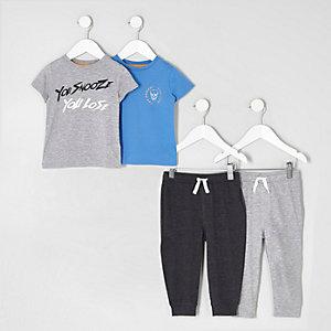 Mini - Multipack grijze pyjamaset met print voor jongens