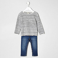Mini boys grey jumper and blue jean set