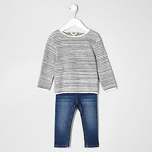 Mini boys grey jumper and blue jean set