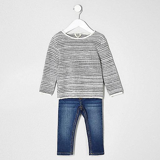 Mini boys grey sweater and blue jean set
