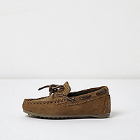 Mini boys brown suede driver shoes