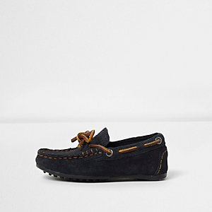 Mini boys navy suede driver shoes