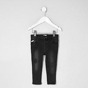 Mini - Sid - Zwarte skinny jeans met borduursel voor jongens