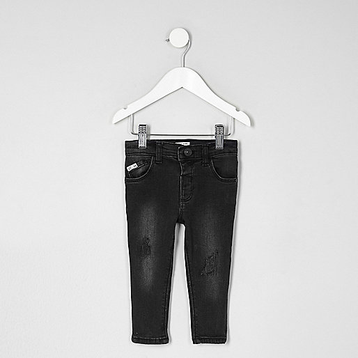 Mini boys black skinny embroidered Sid jeans