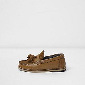 Mini - Bruine loafers met kwastje voor jongens