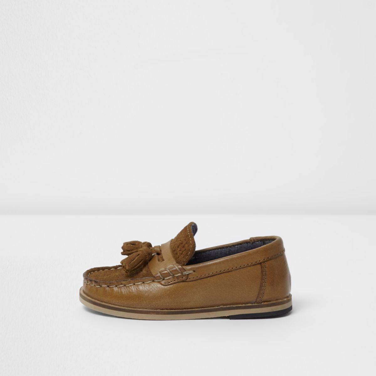 Mini boys tan tassel loafers