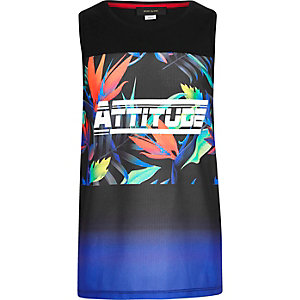 Boys black 'attitude' floral print tank