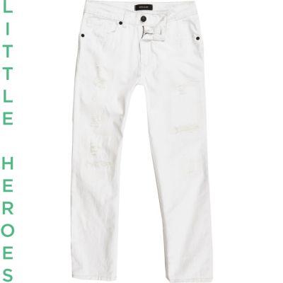 Dylan Witte ripped slim-fit jeans voor jongens