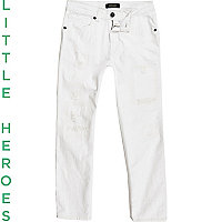 Boys white ripped Dylan slim fit jeans