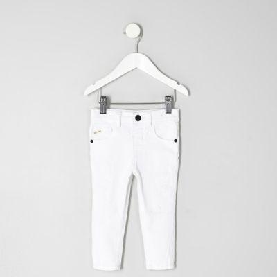 Mini Sid witte ripped skinny jeans voor jongens