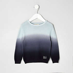 Mini boys blue ombre crew neck sweater