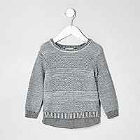 Mini boys grey textured knit layered sweater