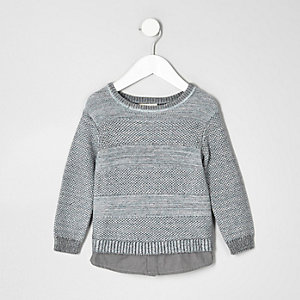 Mini boys grey textured knit layered jumper