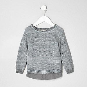 Pull en maille grise texturée double épaisseur mini garçon
