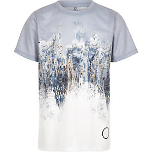 Boys grey marble fade print T-shirt