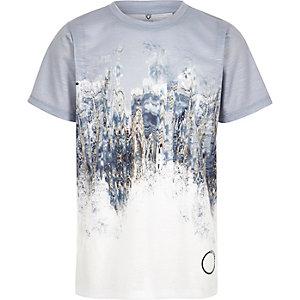 T-shirt imprimé marbré délavé gris pour garçon