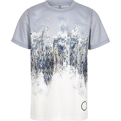 Boys grey marble fade print T-shirt