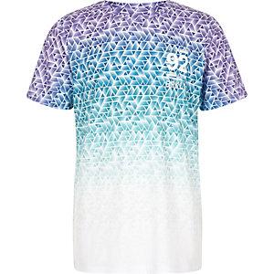 Jungen – T-Shirt mit blauem, ausgebleichtem Geomuster