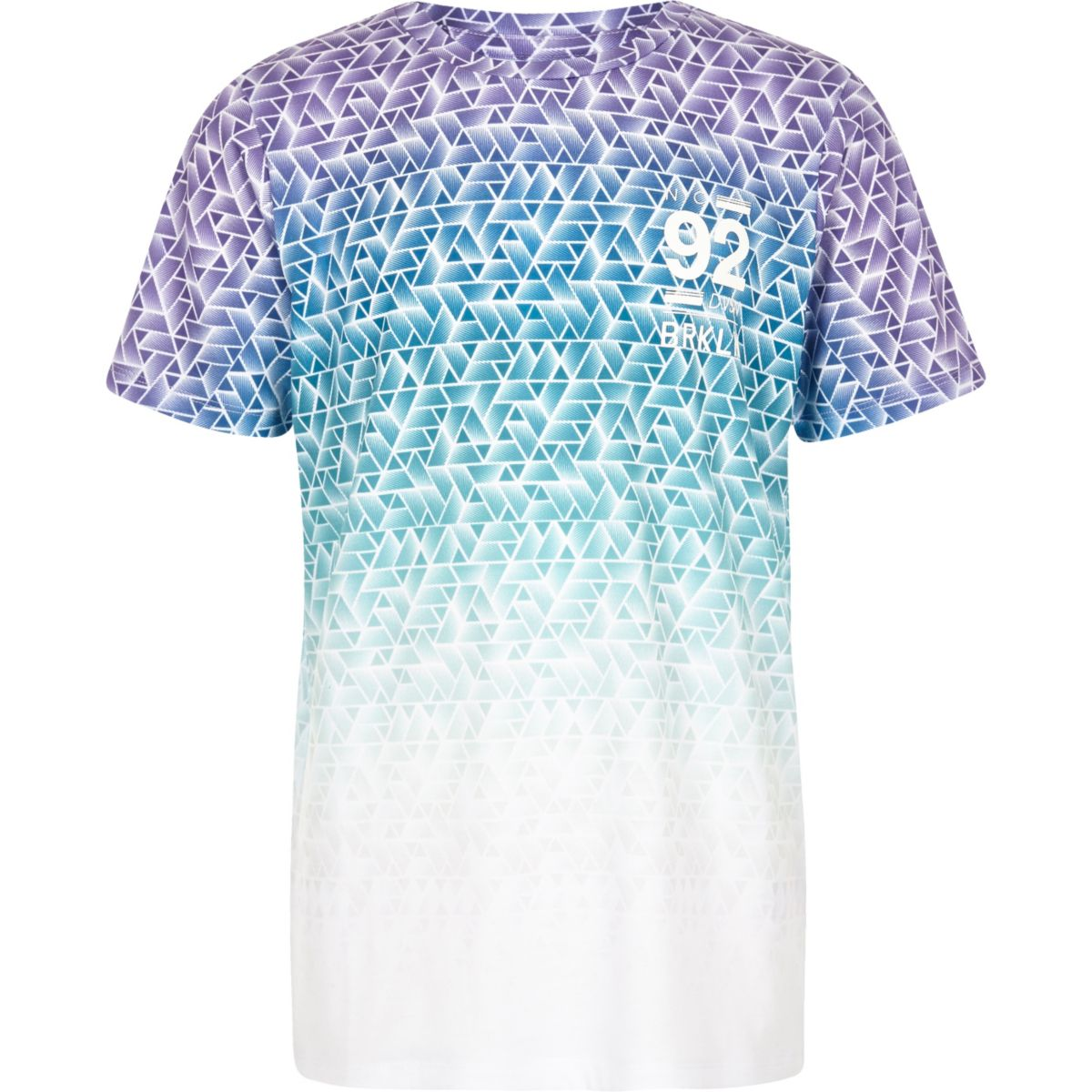 Boys blue geo fade print T-shirt