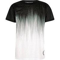 Boys black glitch fade print T-shirt