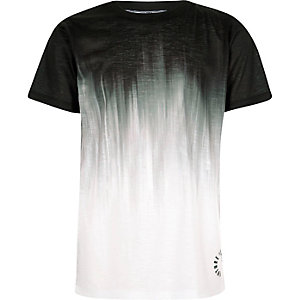 Boys black glitch fade print T-shirt