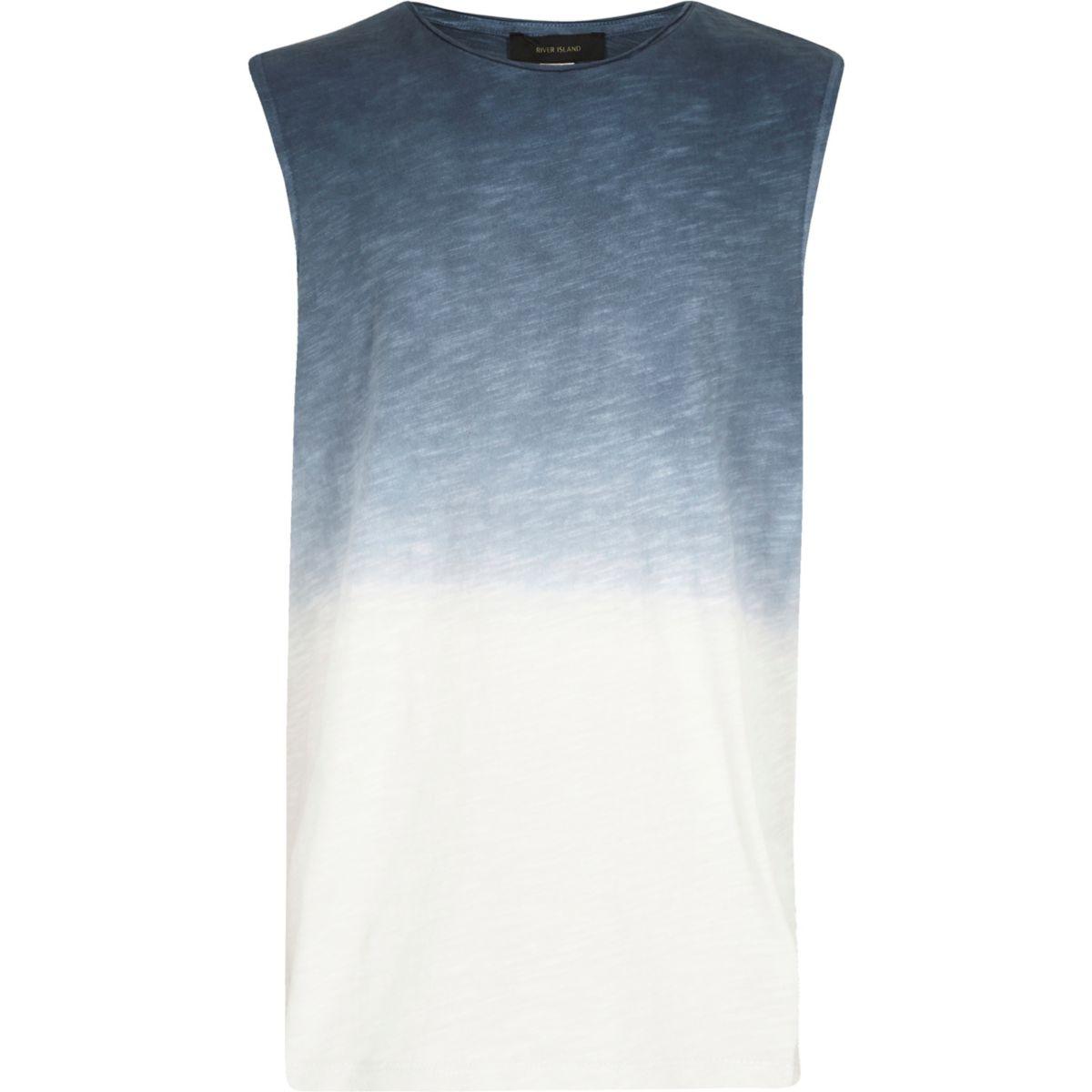 Boys blue fade print vest
