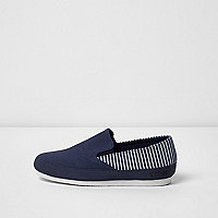 Boys navy stripe panel slip on plimsolls