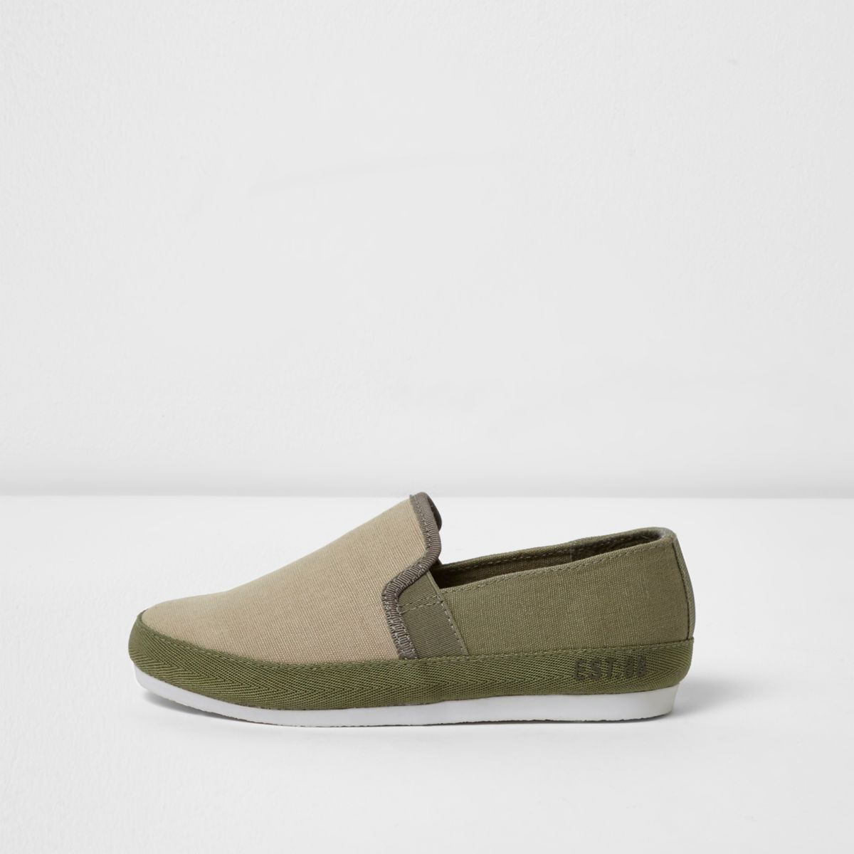 Boys light brown slip on plimsolls