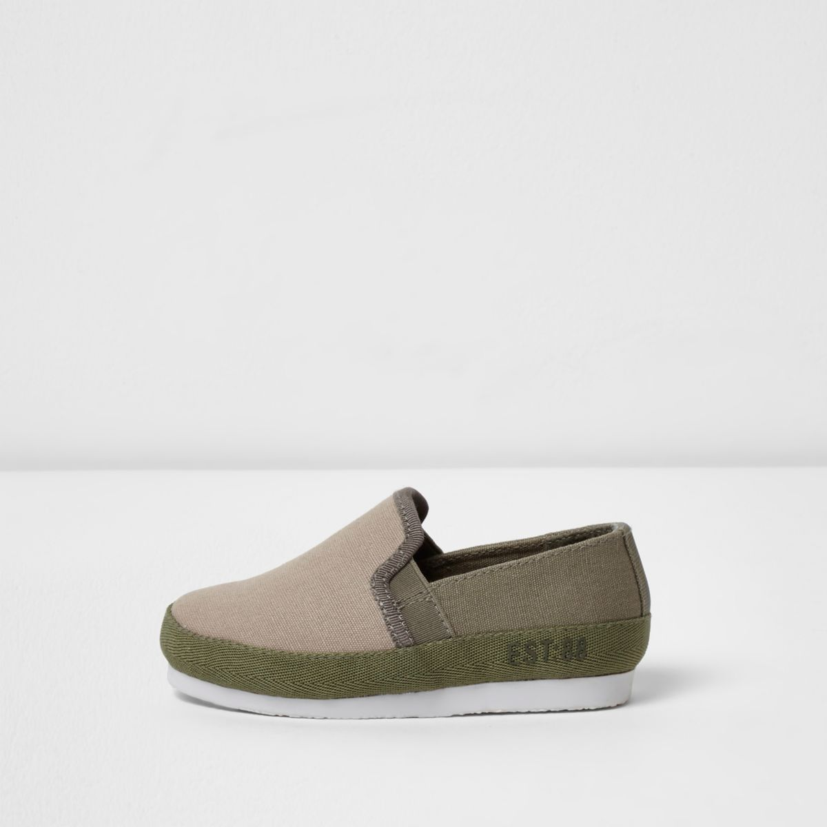 Mini boys light brown slip on plimsolls