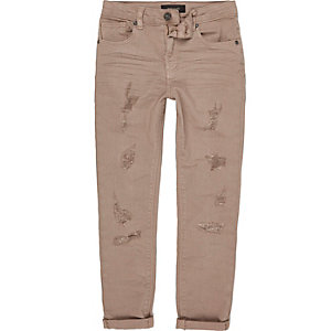 Boys pink ripped Sid skinny jeans