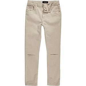 Sid - Kiezelkleurige skinny jeans met gescheurde knie voor jongens